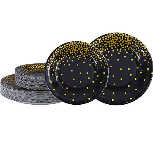Aneco 60 Pieces 7 Inch 9 Inch Black Bronzing Disposable Paper Plates Dinnerware Plates Gold Foil Polka Dot Plates for Party Graduation Wedding Anniversary Birthday (black)