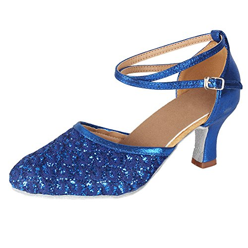 Salsa B Latin Shoes Performance 6 Dance 5 7 MF1802 Fashion Glitter US M Tango Shoes Ballroom Women's Blue 8 Roymall Model Party qHB4wz