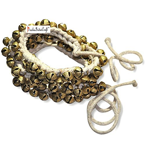 Prisha India Craft ® Kathak Ghungroo Pair, (75+75) (12 No. Ghungroo) Bells Best quality Tied with Cotton Cord Indian Classical Dancers Anklet Musical Instrument by Prisha India Craft