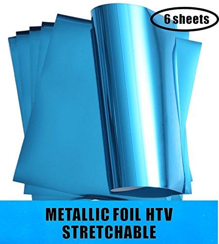 Aqua Foil - Stretchable Metallic Heat Transfer Vinyl Sheets Aqua Foil HTV for Apparel T-Shirt and Hoodie 12