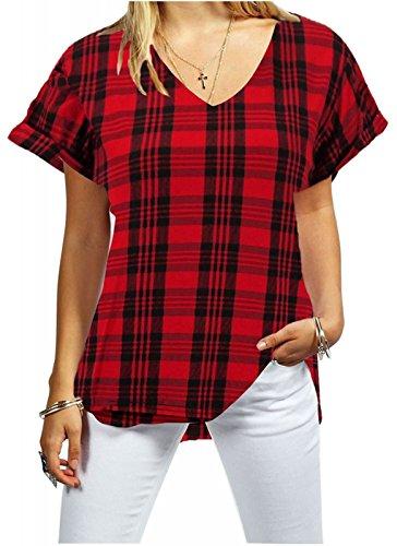 Red T 1st shirt Fashion Donna Tartan xIUwvv6
