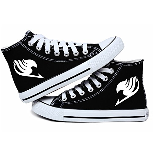 Fairy Tail Anime Logo Canvas Shoes Cosplay Shoes Sneakers Black/ White Black Lyu9Usd8