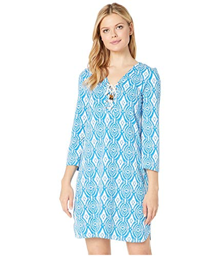 Hatley Women's Dani French Terry Dress Block Medallion Blue Small