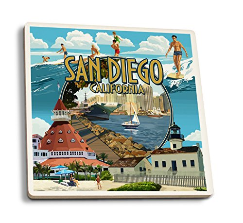 San Diego, California - Montage (Set of 4 Ceramic Coasters - Cork-backed, Absorbent) San Diego Coasters