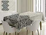 Unique Custom Cotton And Linen Blend Tablecloth Traditional House Decor Arabesque Pattern Vintage Damask Effects Curved Persian Floral Arabian TealTablecovers For Rectangle Tables, 78 x 54 Inches