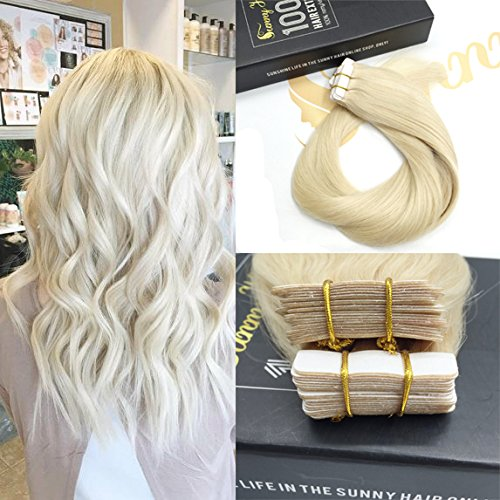Sunny 40pcs 100g Per Set Tape in Hair - Blonde Human Hair Extensions 60