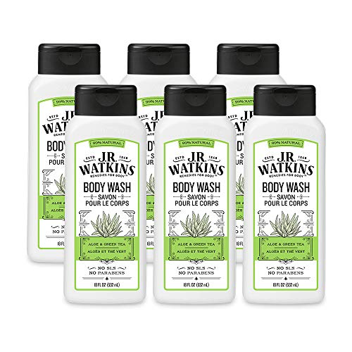 JR Watkins Natural Daily Moisturizing Body Wash, Aloe and Green Tea, 6 Pack, Hydrating Shower Gel for Men and Women, Free of SLS, USA Made and Cruelty Free, 18 fl oz