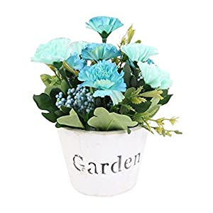 KOBWA Artificial Flower Set Fake Carnation Flower White Color Round Wooden Pot for Bathroom Home Kitchen Office Garden Decor 5