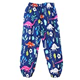 Toddler Waterproof Rain Pants Flower Print Rainwear for Girls Boys Blue
