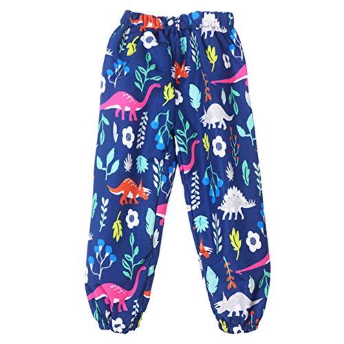 (PongYou Toddler Girls Boys Waterproof Rain Pants Winter Windbreak Flower Print Outwear Blue 120, 5T(For Age 3-4))