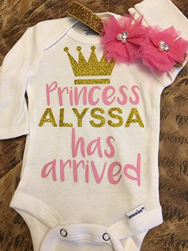 The princess has arrived - baby bodysuit - newborn headband - take home outfit - come home outfit - custom bodysuit by DyvaBows