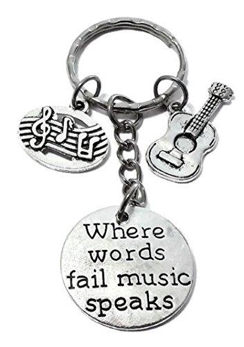 - Music Keychain, Music Note Keychain, Guitar Keychain, Music Key Ring, Guitar Key Ring