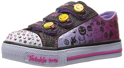 Twinkle Button (Skechers Little Kid (4-8 Years) Twinkle Toes: Chit Chat-Prolifics Emoji Black/Lavender Light-Up Sneaker - 12 M US Little Kid)