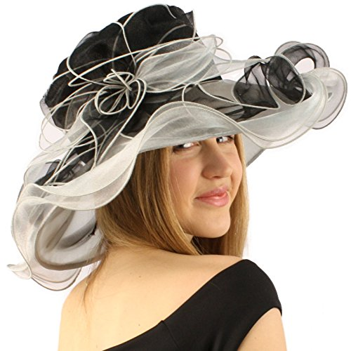 Two Tone Ruffle (Fancy Kentucky Derby Floppy Ruffle Organza 2 Tone Flower Church Hat Black)