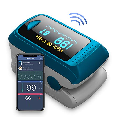 Bluetooth Blood Oxygen Saturation Monitor with App for iPhone & Android, OLED Display Fingertip SpO2 Oxygen Meter Heart Rate Monitor with 2 AAA Batteries and Lanyard