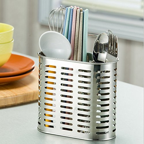 Auch Kitchen Utensils Chopsticks Holder Drying Rack Basket with Hooks 2 Divided Compartments Quality Stainless Steel