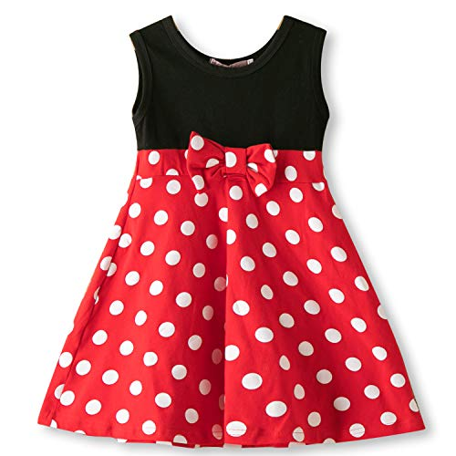 Summer Costume For Kids (NNJXD Little Girls Snow White Belle Mermaid Cartoon Princess Costume Summer Tutu Dress Up Pageant Dress 2-3 Years Polka Dots)