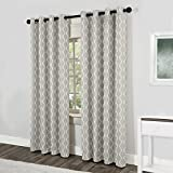 Exclusive Home Curtains Baroque Textured Linen Look Jacquard Grommet Top Window Curtain Panel Pair, Dove Grey, 54x96