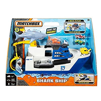 Matchbox Shark Ship Floats in Water and Rescue on Land: Toys & Games