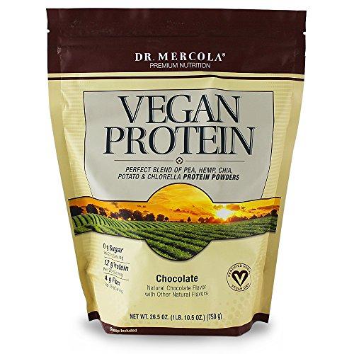 Dr. Mercola Vegan protéines chocolat - un mélange parfait de pois, chanvre, Chia, Chlorella & protéines de pomme de terre - sans Gluten - naturellement parfumés - 1 oz de 6,5 lb (750g)