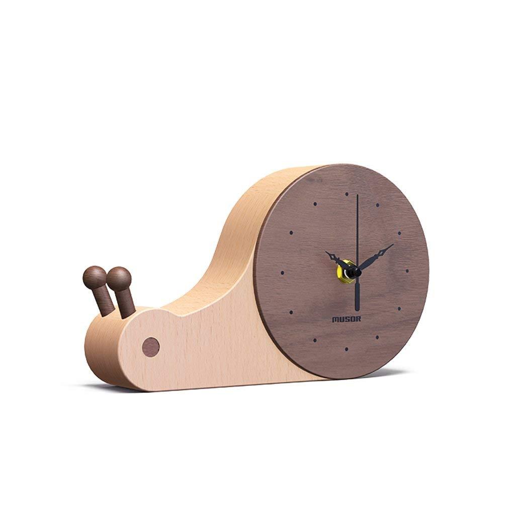 デスククロックファミリークロック木製漫画の置時計クリエイティブミュートかわいいカタツムリクォーツキッズリビングルームの寝室のオフィスに適して B07TGGZCXR