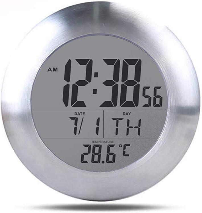 Winbang Reloj Digital de Pared para Ducha de baño, Resistente al Agua para rociar Agua, Reloj Despertador Digital de termómetro, a Prueba de Humedad, Calendario Mes Fecha Día, Soporte de Ventosa