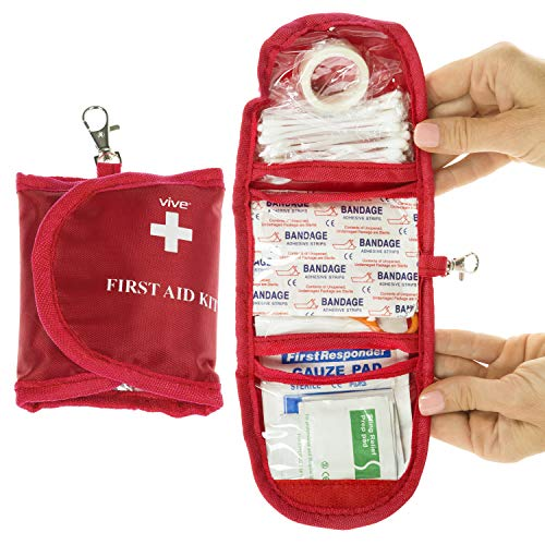 Vive Mini First Aid Kit (65 Piece) - Bandages and Survial EDC For Vehicle, Home, Camping, Earthquake, Auto Car - Emergency Trauma Safety Bag - Gauze, Tape, Scissors - Medical - Bandage Kit