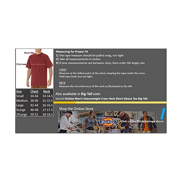 Fashion Shopping Dickies Men's Heavyweight Crew Neck Short Sleeve Tee Big-Tall