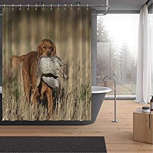 ALUONI an English Cocker Spaniel with a Sharptailed Grouse Shower Curtains Set with Hooks,054446 for Shower,65''W x 71''H 3