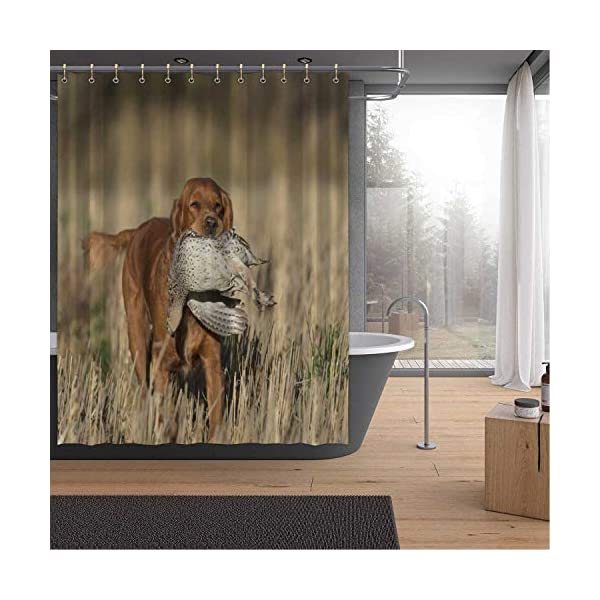 ALUONI an English Cocker Spaniel with a Sharptailed Grouse Shower Curtains Set with Hooks,054446 for Shower,65''W x 71''H 1