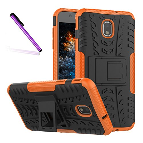 Pattern Tyre - J3 2018 Case, Tyre Pattern Design Heavy Duty Tough Armor Extreme Protection Case With Kickstand Shock Absorbing Detachable 2 in 1 Case Cover For Samsung Galaxy J3 Star / J3 2018. Hyun Orange