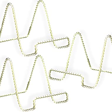 BANBERRY DESIGNS Wire Easel Display Stand - Twisted Brass Metal - 4 Inch - Pack of 3