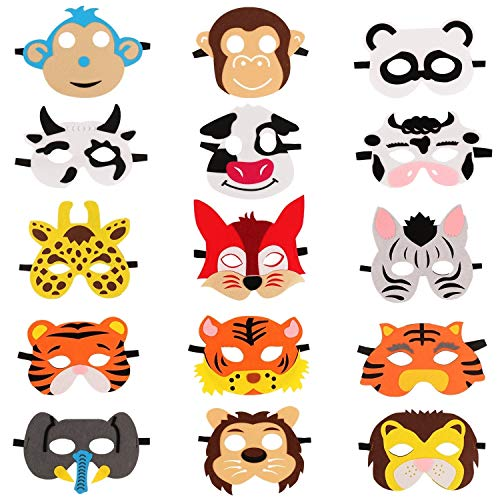 Dress Up As Animals (SOTOGO 15 Pieces Farm Animal Masks Animal Felt Masks for Zoo Farmhouse Theme Birthday Party Costumes Dress Up Party)