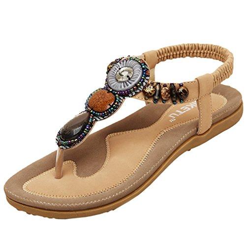 Oasap Damen Fashion Bohemia Sommer Beads Sandalen, Aprikose EURO38/US6.5/UK4.5