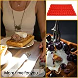Best Belgian Waffle Maker 4 slice, Double Pack of New Silicone Square Molds, Make 8 Waffles at Once, Non-stick, Easy to Clean, Full Instructions, BONUS eBook Top 50 Waffle Recipes by YumYum Utensils