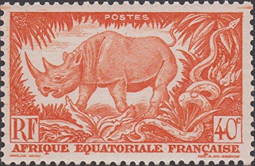 1947 French Equatorial Africa Black Rhinoceros Orange 40c Postage Stamp