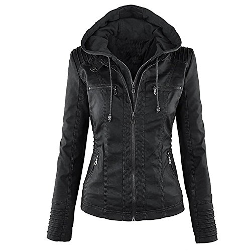 Padded Leather Motorcycle Jacket - 5