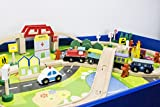 Wooden Toy Train Track / 90 Piece Creative Play Table Set Compatible with Other sets