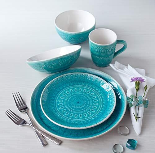 Euro Ceramica Fez Collection 20 Piece Ceramic Reactive Crackleglaze Dinnerware Set, Service for 4, Teardrop Mandala…