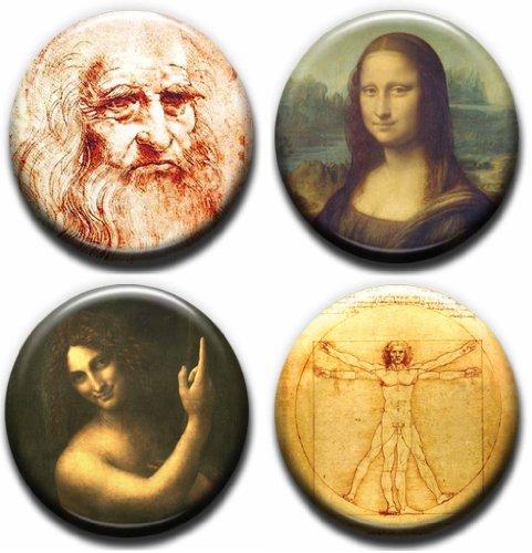 4 x Leonardo Da Vinci Buttons Pins (Size 1inch Diameter) Art Mona (Mona Lisa Portrait Costume)