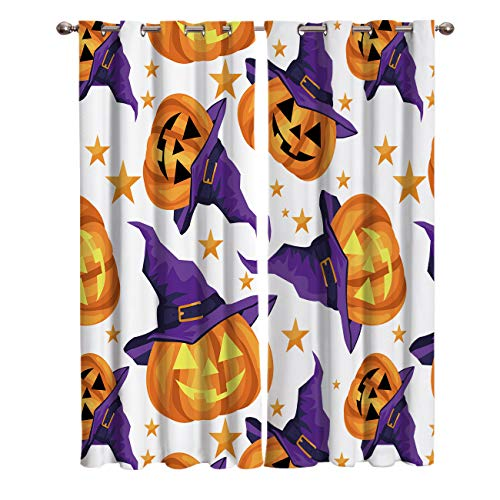 LAMANDA Funny Halloween Pumpkin with Witch Hat Blackout Curtains, Home Decorative Shading Curtain Window Treatments Thermal Insulated Grommets Darkening Drapes, 2 Panel Set]()