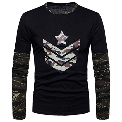 Clearance Sale! Wintialy Fashion Men's Autumn Camouflage Print Joint Long Sleeved Sweatshirts Top (K-12 Gear Jumper)