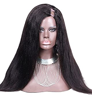LUFFYWIG Women's Wig Coarse Yaki Straight Natural Color 130% Density Left Side 1 4 Opening 8A Human Hair U Part Wigs 26 Inch