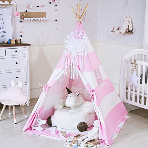little dove Kid's Foldable Teepee Play Tent, One Four Ploes Style Strip Style Pink/White (Mat Not Included)