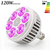 120W LED Grow Light Bulb, Derlights Full Spectrum Grow Lights for Indoor Plants, SMD 3030 Chips, Grow Lamp for Indoor Garden Hydroponics Greenhouse Plants Veg Flower, E26 Socket