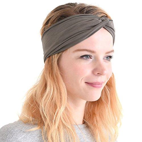 Womens Headband Running Bandana - Mens Workout Elastic Head Sweat Hair Band Sports Yoga Turban Charcoal Gray