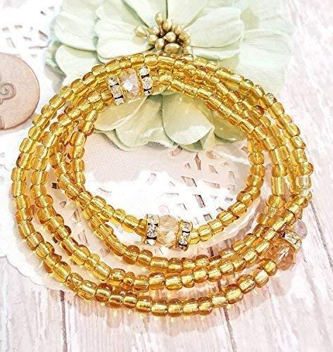 B0161DEV5E Waist Beads, Beaded Belly Chain, Seed Beads, African Waist Beads, Women's Jewelry, Body Jewelry, Minimalist Jewelry, Women's Body Jewelry, Stretch Bracelet 51kISAIs-lL