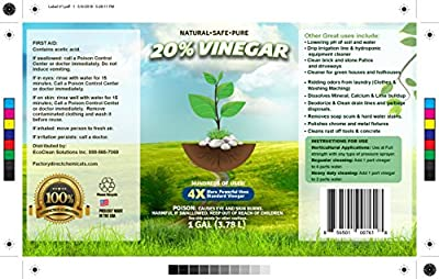 20% Acetic Acid - 200 Grain White Distilled Vinegar (4 Gallon case)
