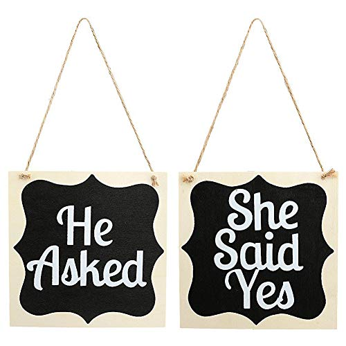 856store Novelty He Asked and She Said Yes Wooden English Letters Wedding Hanging Photo Props