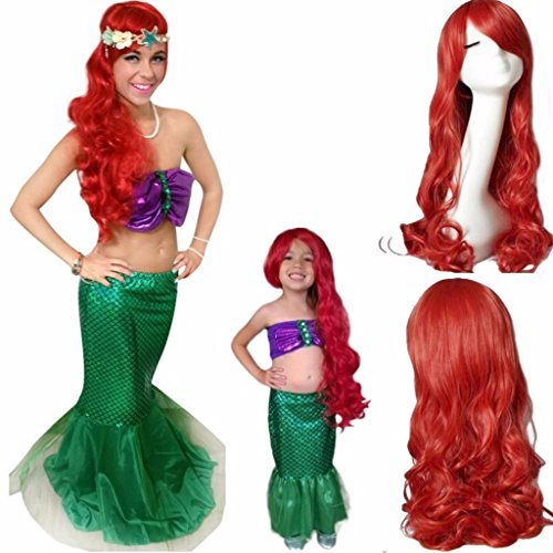 "Price comparison product image Ani·Lnc 24"" Long Wavy Red Synthetic Cosplay Hair Wig For Children"
